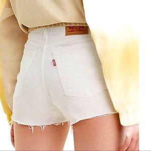 Levi's High Rise White Distressed Denim Shorts 25